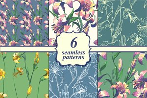 Set of six seamless floral patterns