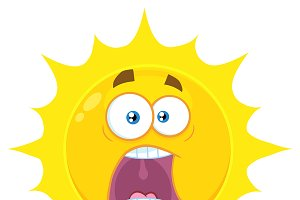 Yellow Sun With Expressions A Panic