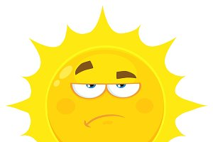 Grumpy Yellow Sun Cartoon Character