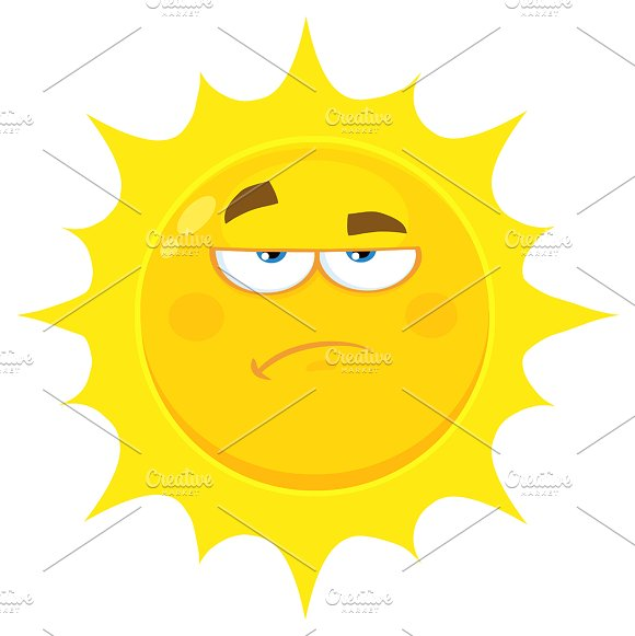 Grumpy Yellow Sun Cartoon Character