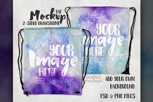 Two Sided Drawstring Bag Mockup