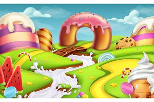 Sweet landscape. Vector background
