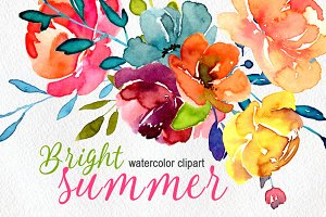 Bright watercolor summer flowers png