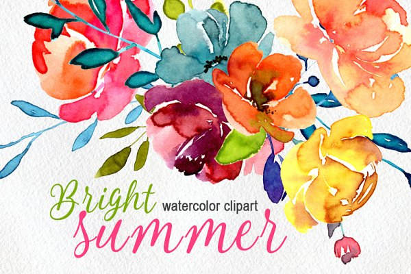 Bright watercolor summer flowers pn…