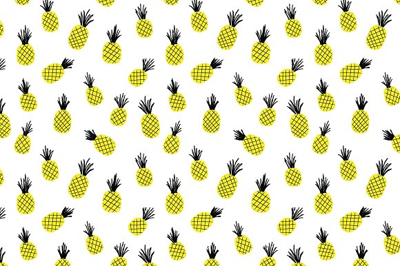 Hand Drawn Pineapple Vector Pattern