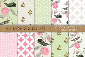Digital Paper - Hummingbirds II