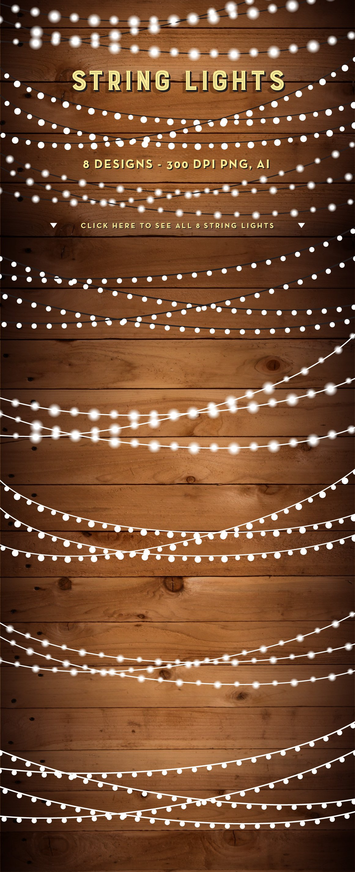 String Lights Clip Art Set - PNG, AI ~ Objects ~ Creative Market