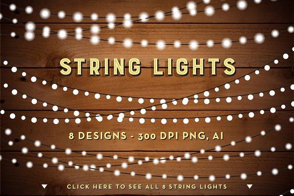 String Lights Clip Art Set - PNG, A…