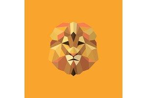 Lion golden orange mane low poly style of modern design vector illustration