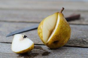 Sliced ripe pears