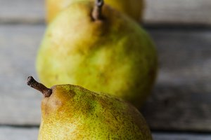 Three fresh ripe pears
