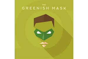 Greenish mask, superhero into flat style