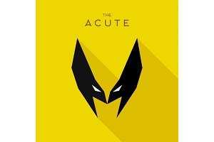 Mask Acute Hero superhero flat style icon vector logo, illustration, villain