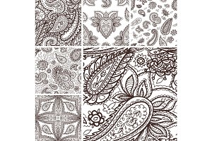 Floral mehendi pattern ornament vector illustration hand drawn henna mhendi pattern india tribal paisley background