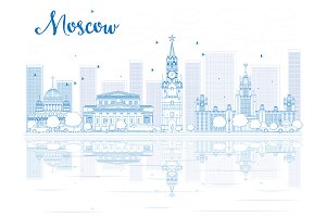 Outline Moscow skyline