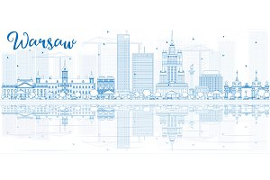 Outline Warsaw skyline