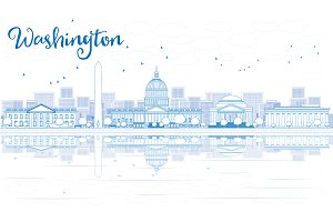Outline Washington DC City Skyline
