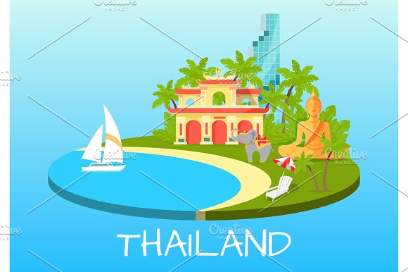 Thailand Touristic Concept With National Symbols