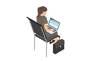 Businesswoman with Laptop on Chair Illustration