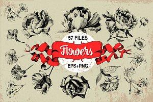 Ink flower peony, roses, poppy