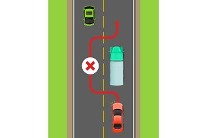 Lorry Overtaking Ban Flat Vector Diagram