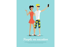 People on Vacation Making Selfie on Smartphone