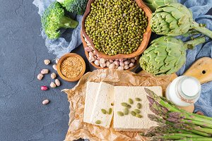 Assortment of healthy vegan protein source and body building food