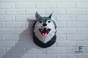 DIY Wolf Head 3D model template