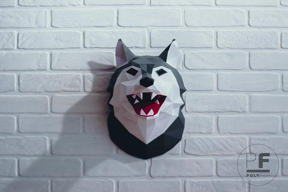 diy wolf head 3d model template templates creative market