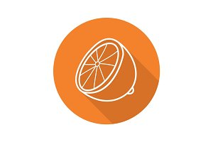 Lemon half flat linear long shadow icon
