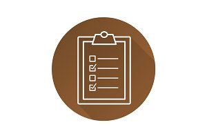 Clipboard checklist flat linear long shadow icon