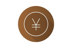 Yen flat linear long shadow icon
