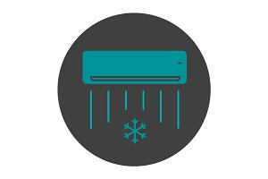 Air conditioner glyph color icon