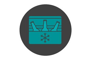 Portable refrigerator glyph color icon