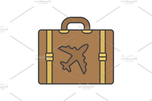Travel Luggage Suitcase Color Icon