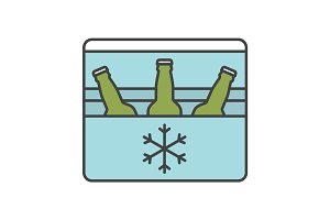 Portable refrigerator color icon
