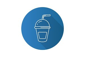 Refreshing soda drink. Flat linear long shadow icon