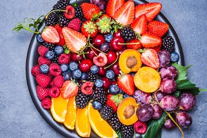 Fresh fruits and berries bowl.
