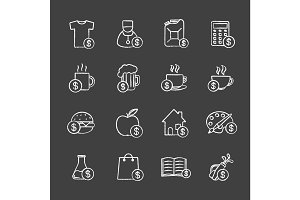 Commercial items chalk icons set
