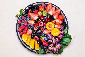Fresh fruits and berries.