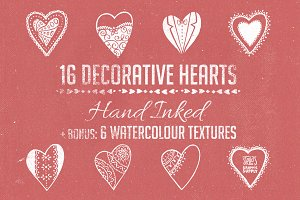 Hand Inked Decorative Hearts + Bonus