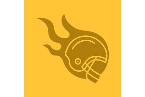 Burning rugby player's helmet glyph color icon
