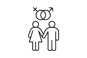 Heterosexual couple linear icon