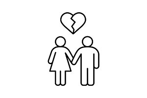 Lovers breakup linear icon