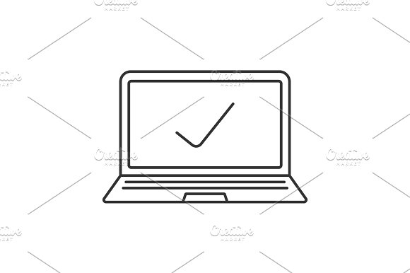 Laptop With Tick Mark Linear Icon