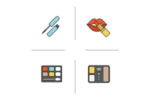 Women's cosmetics color icons set