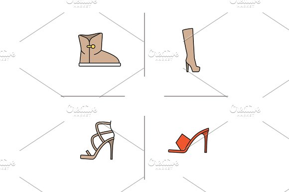 Women's Footwear Color Icons Set