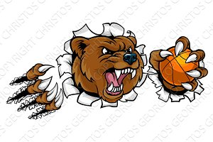 Bear Holding Basketball Ball Breaking Background