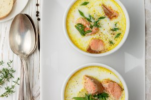 Thick hot fish salmon soup
