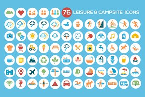 Camping, Leisure & Tourism Icon Set